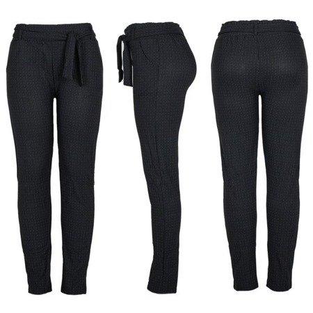 Czarne spodnie paperbag z szarym deseniem - Spodnie