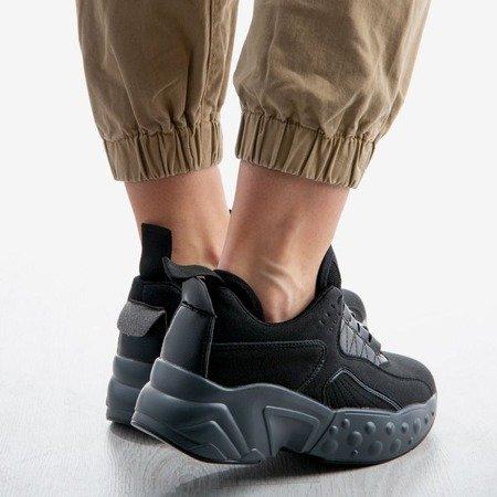 Czarne sportowe buty na grubej podeszwie Pamela - Obuwie