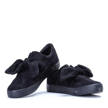 Czarne sportowe buty wiązane wstążką Viculio - Obuwie