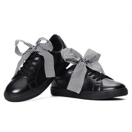 Czarne sportowe buty z kokardą Alice - Obuwie
