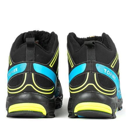 Czarne sportowe męskie buty trekkingowe z neonową żółtą oraz niebieską wstawką Everest Obuwie