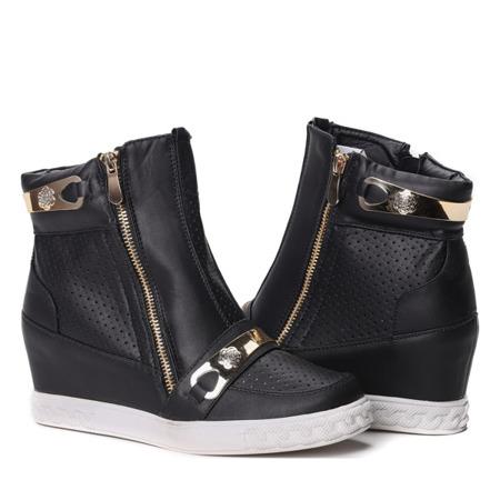 Czarne stylowe botki na koturnie - Obuwie