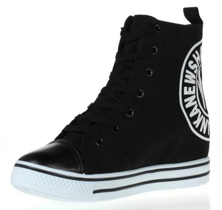 Czarne, tkaninowe sneakersy na koturnie - Obuwie