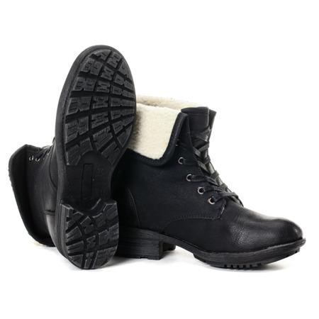 Czarne workery z kożuszkiem - Obuwie