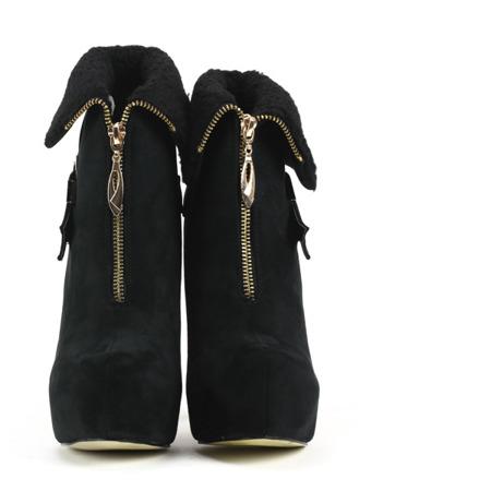 Czarne, zamszowe botki na szpilce - Obuwie