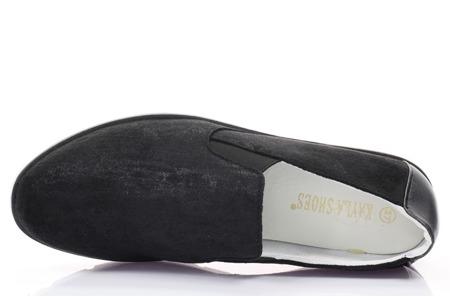 Czarne, zamszowe tenisówki slip on - Obuwie