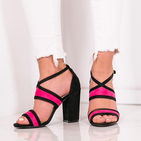 Czarno-fuksjowe sandały na słupku Jeanie - Obuwie