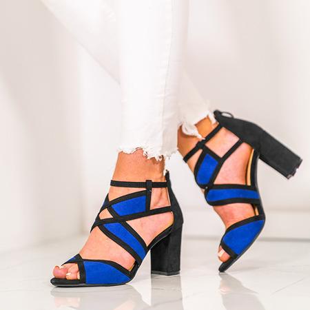 Czarno-granatowe sandały na słupku Rosaline - Obuwie