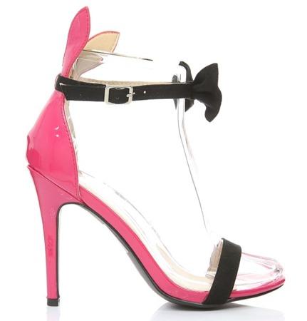 Czarno-różowe sandały z kokardą Kokerdene - Obuwie