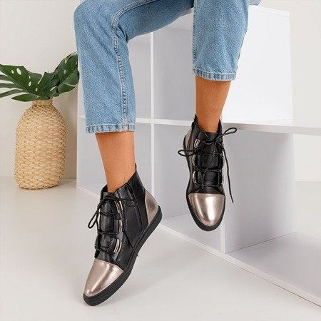 Czarno-srebrne damskie sneakersy Enzo - Obuwie