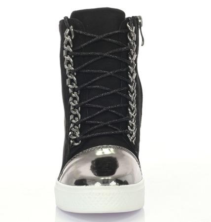 Czarno-srebrne sneakersy na koturnie - Obuwie