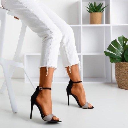 Czarno - szare sandały damskie na wysokiej szpilce Gold Rush - Obuwie