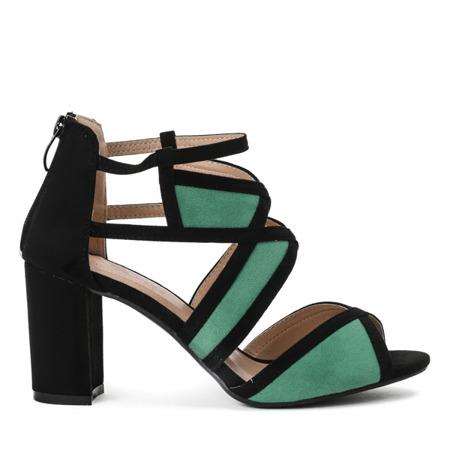Czarno-zielone sandały na słupku Rosaline - Obuwie