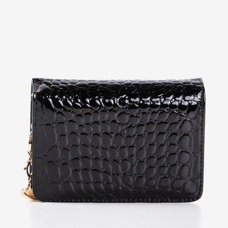 Czarny pikowany portfel wykonany ze skóry ekologicznej - Portfel