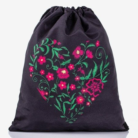 Czarny plecak worek z kwiatowym printem - Plecaki