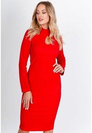 Czerwona sukienka midi z wycięciami - Odzież