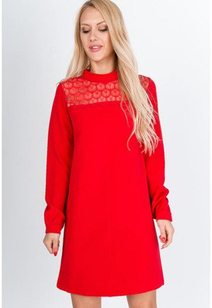 Czerwona sukienka mini z koronką - Odzież