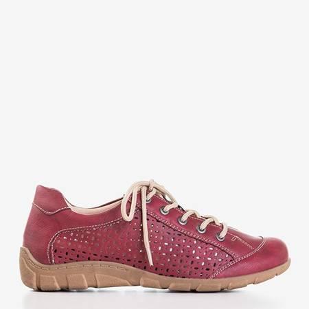 Czerwone ażurowe tenisówki damskie Madeja - Obuwie
