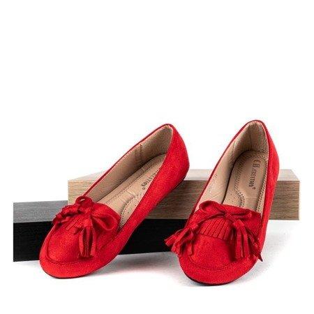 Czerwone baleriny z frędzlami Spring Garden - Obuwie