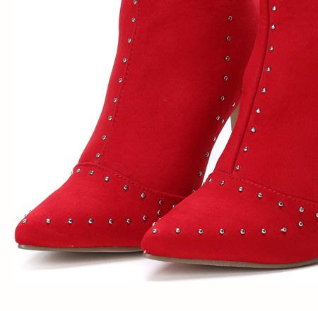 Czerwone botki na szpilce Vivian - Obuwie