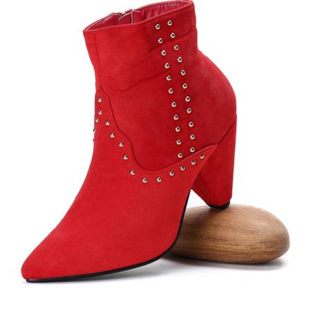 Czerwone botki na trójkątnym obcasie Lorelei
