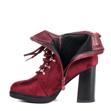 Czerwone botki na wysokim słupku - Obuwie