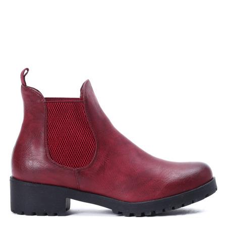 Czerwone botki z elastyczną cholewką Winona - Obuwie