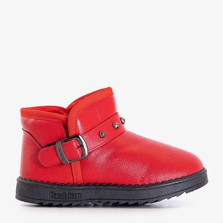 Czerwone dziecięce śniegowce ze sprzączką Miumea - Obuwie
