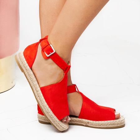 Czerwone espadryle z wycięciami Lexiea - Obuwie