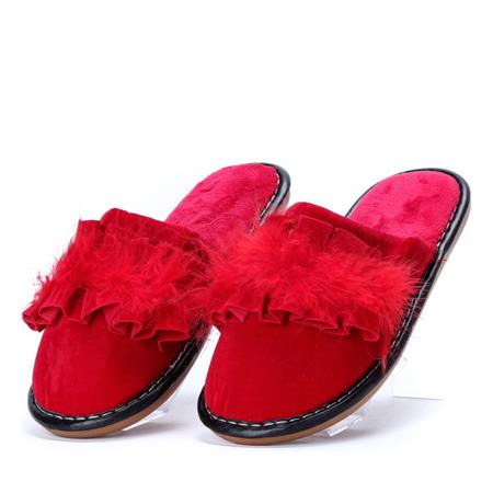 Czerwone kapcie z falbanką Lucille - Obuwie