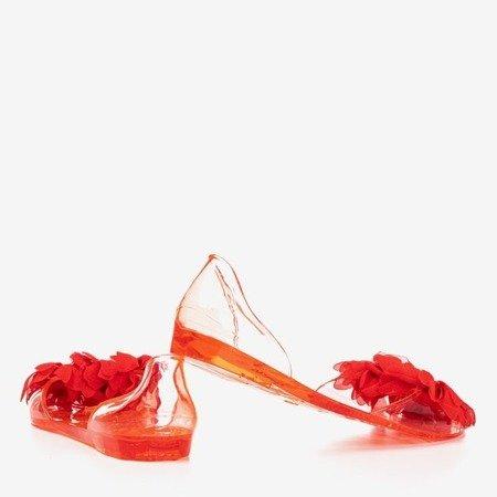 Czerwone meliski zdobione kryształkami Sinetta - Obuwie