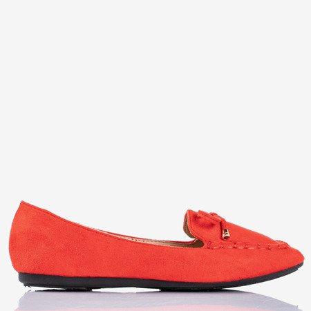 Czerwone mokasyny z kokardką Petronella - Obuwie