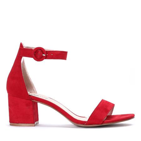 Czerwone sandały na słupku Madeleine - Obuwie