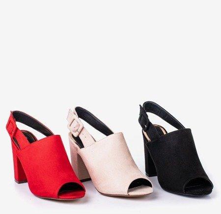 Czerwone sandały damskie na słupku z cholewką Flower Hill - Obuwie