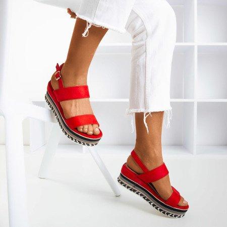 Czerwone sandały na koturnie Colissa - Obuwie