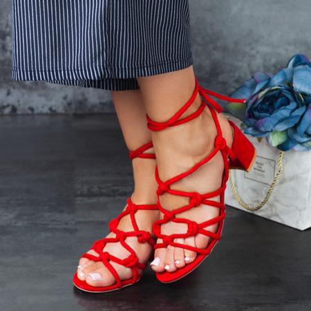 Czerwone sandały na niskim słupku Cherise -  Obuwie