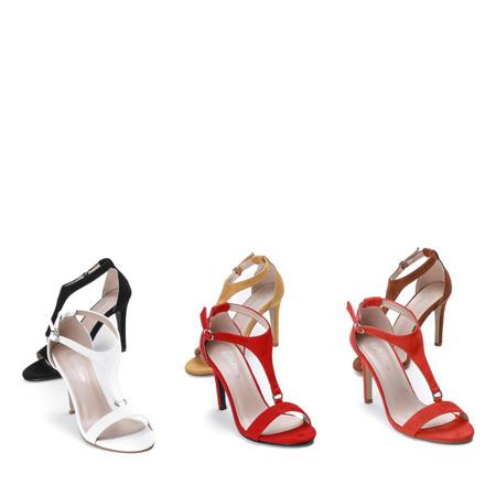Czerwone sandały na wysokiej szpilce Rosie - Obuwie