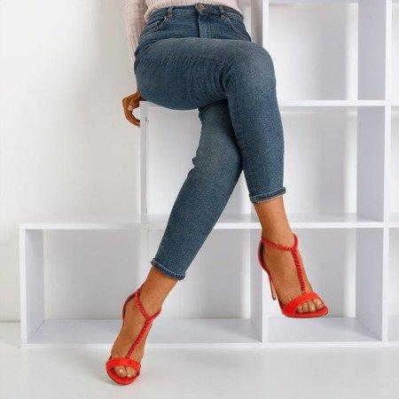 Czerwone sandały na wyższej szpilce Nastuli - Obuwie