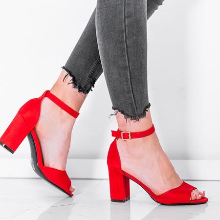 Czerwone sandały z eko - zamszu na słupku Oti - Obuwie