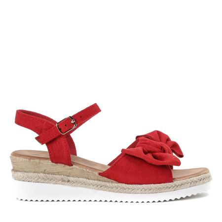 Czerwone sandały z kokardką na koturnie Marcola - Obuwie