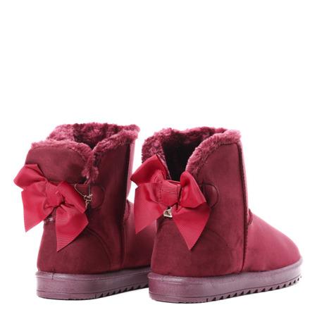 Czerwone śniegowce z kokardką - Obuwie