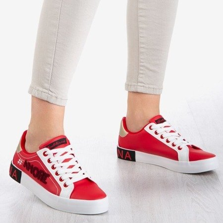 Czerwono-białe sportowe tenisówki damskie J'amore - Obuwie