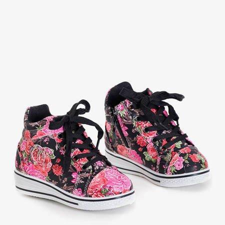 Czerwono - czarne dziewczęce sneakersy w kwiaty na koturnie Tutelina - Obuwie