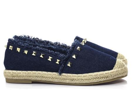 Espadryle w kolorze ciemnego jeansu z ćwiekami Vaan - Obuwie