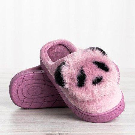 Fioletowe kapcie z podobizną pandy Panda - Obuwie