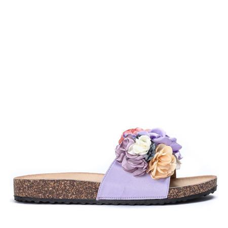 Fioletowe klapki z ozdobnymi kwiatkami Vilena - Obuwie