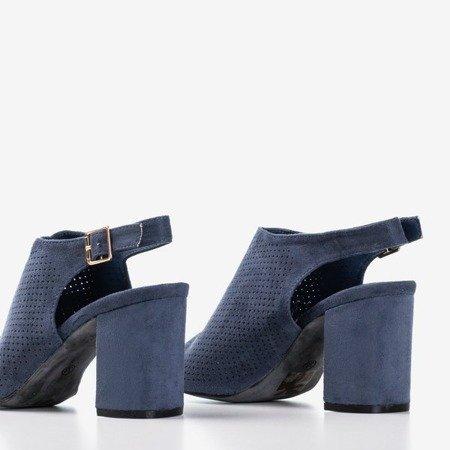 Granatowe ażurowe sandały na wyższym słupku Solana - Obuwie