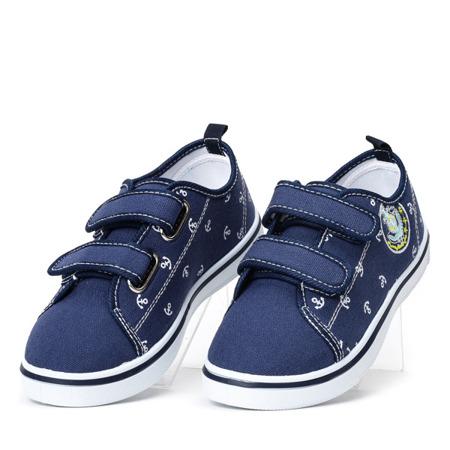 Granatowe chłopięce buty na rzepy Hookie - Obuwie