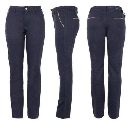 Granatowe eleganckie tkaninowe spodnie - Spodnie