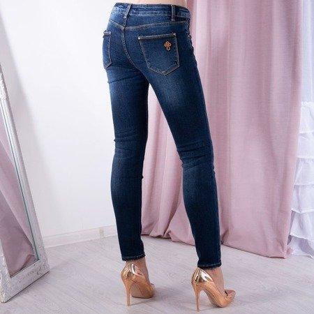 Granatowe jeansowe spodnie - Spodnie